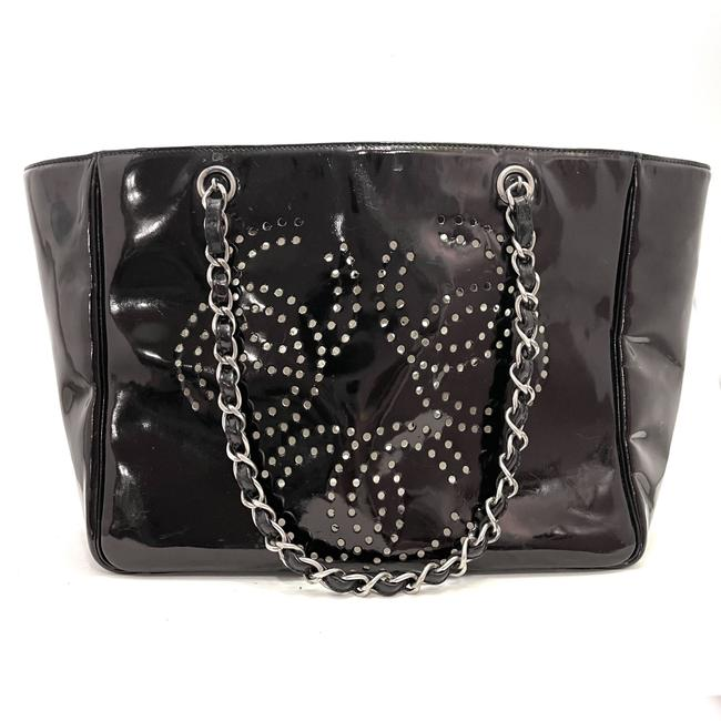 Item - Shopping Perforated Black Patent Leather Tote