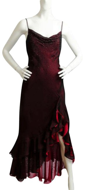 Item - Ay Papi Sheer Red Sequins Long Cocktail Dress Size 4 (S)