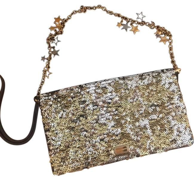 Item - Perfect For New Years Sequin Gold and Black Leather Wristlet
