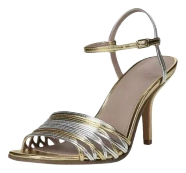 Item - Silver Federica Mixed Metallic Strappy Sandals Size US 7 Regular (M, B)