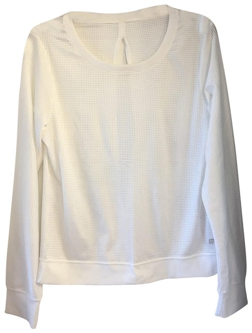 Item - White Open Back with Holes Sweatshirt/Hoodie Size 12 (L)
