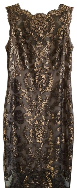Item - Tan Gold Bronze Sequin Mid-length Cocktail Dress Size 10 (M)