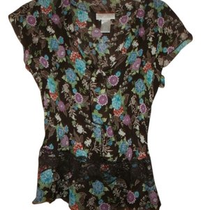 worthington Large Floral Top brown /purple/blue assorted colors