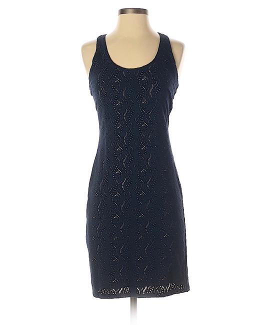 Item - Navy Blue Lace Cut-out Bodycon Sheath Short Casual Dress Size 6 (S)