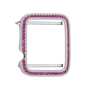 Master Of Bling Sterling Silver Custom Apple Bezel Pink White Micro Pave 42mm Cover