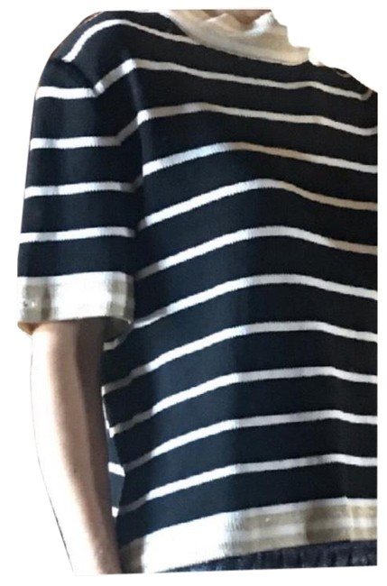 Item - Knit Striped Blouse - Black White and Gold Sweater