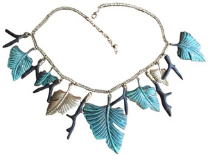 Artisan Signed Signed Artisan Verdigris Leaves and Twigs or Coral Necklace
