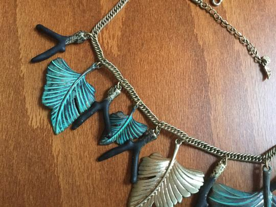 Artisan Signed Signed Artisan Verdigris Leaves and Twigs or Coral Necklace Image 1