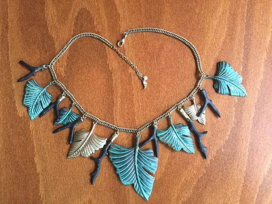 Artisan Signed Signed Artisan Verdigris Leaves and Twigs or Coral Necklace Image 3