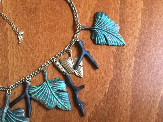 Artisan Signed Signed Artisan Verdigris Leaves and Twigs or Coral Necklace Image 4