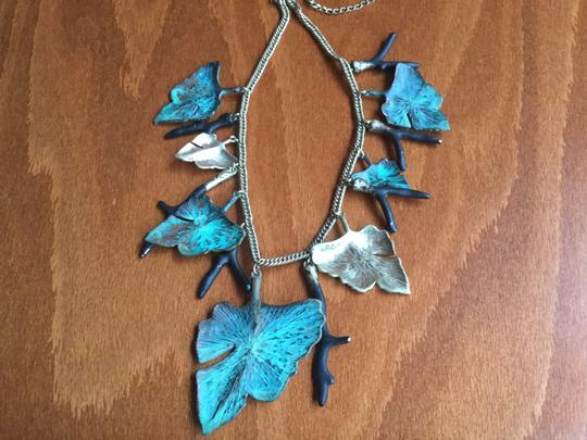 Artisan Signed Signed Artisan Verdigris Leaves and Twigs or Coral Necklace Image 6