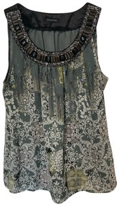 Notations Beaded Embellished Stones Jewels Print Top Multicolor