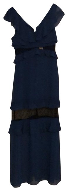 Item - Blu with Mesh Inserts Around The Waist and Above The Knee Bcbg Long Night Out Dress Size 8 (M)