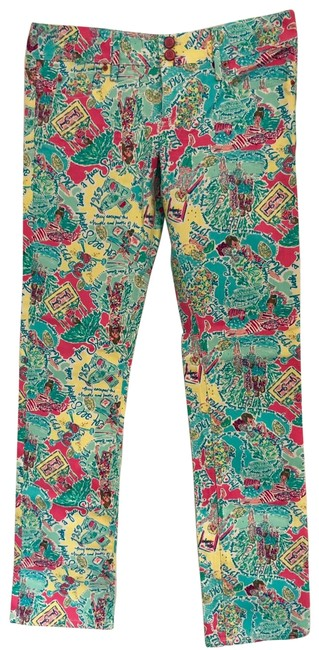 Item - Pink Teal Multi-colored Worth Straight Leg Jeans Size 8 (M, 29, 30)