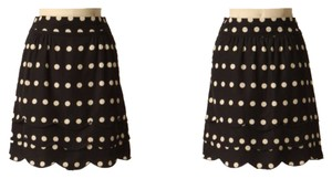 Anthropologie Floreat Dots Scalloped Skirt Black and Cream
