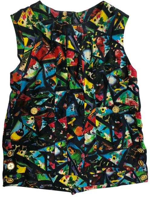 Item - Multicolor Vintage Stained Glass Bird Print Silk Tunic Size OS (one size)