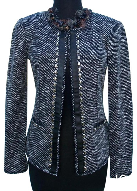 Item - Black Lined Front Hook Eye Closure Top New 2/4/6 S Trim Jacket Size 4 (S)