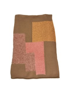 COS Sweater Patchwork Textured Skirt Camel and PInk