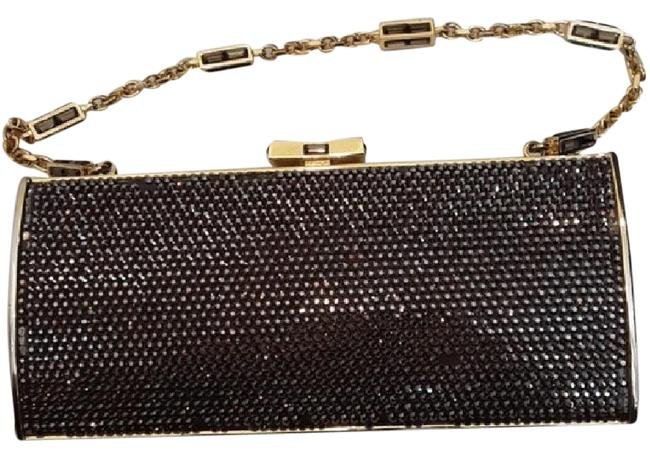 Item - Evening Brown & Gold Crystal Clutch