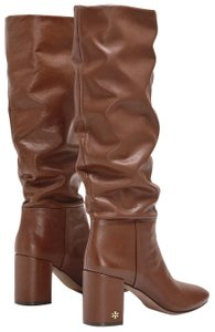 Tory Burch Round Toe Pull On Block Heel Brown Boots