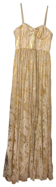 Item - White and Gold Yarra Bustier Maxi Long Formal Dress Size 4 (S)