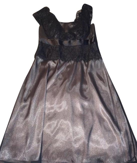 Item - Black Grey Silver Mid-length Cocktail Dress Size 6 (S)