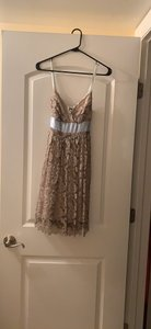 Necessary Objects Beige Lace with Satin Bow W Brand W/Bow Feminine Bridesmaid/Mob Dress Size 6 (S)