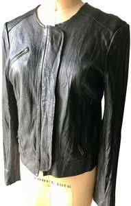 Burning Torch Crew Bomber Fitted Moto Black Leather Leather Jacket