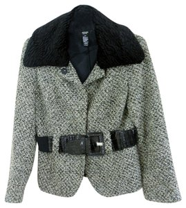ALFANI Faux Fur Collar Black/Grey Tweed Jacket