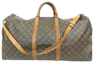 Louis Vuitton Keepall Monogram Leather Vintage Travel Cross Body Bag