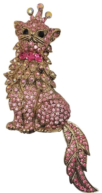 Item - Pink Tone Crystal Crowned Kitten Convertible Brooch Pin Pendant