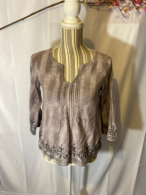 Lucky Brand Aztec Layers V-neck Top Violet Purple Image 1