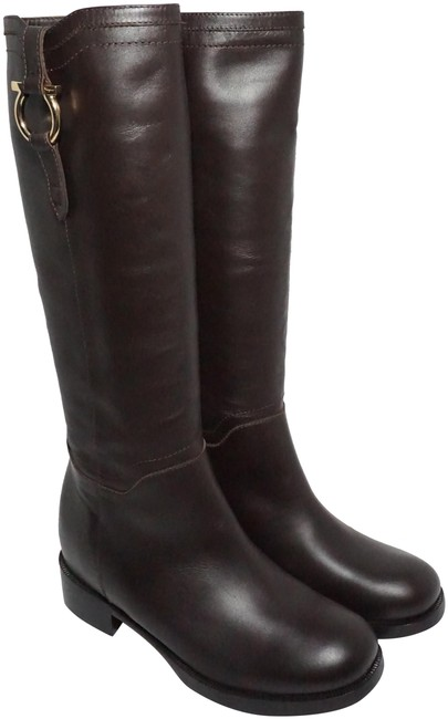 Item - Brown Gold Fersea Gancini Knee High Riding Leather Boots/Booties Size US 6 Regular (M, B)