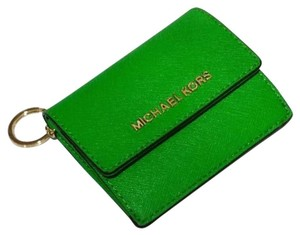 Michael Kors Jet Set Travel Card Case Id Key Holder Wallet Electric Blue green Clutch