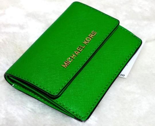 Michael Kors Jet Set Travel Card Case Id Key Holder Wallet Electric Blue green Clutch Image 10