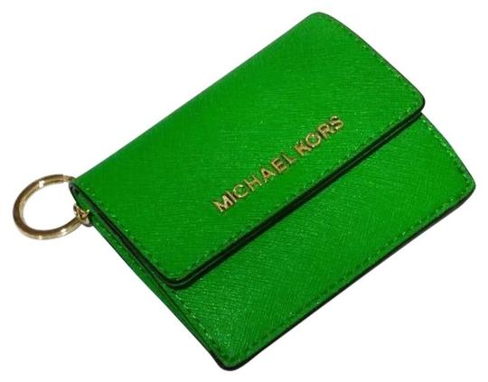 Michael Kors Jet Set Travel Card Case Id Key Holder Wallet Electric Blue green Clutch Image 11