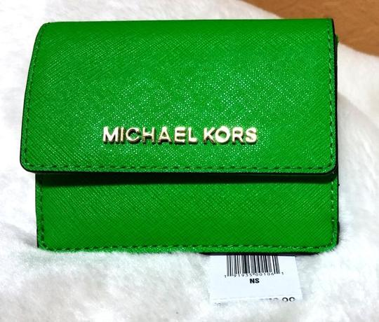 Michael Kors Jet Set Travel Card Case Id Key Holder Wallet Electric Blue green Clutch Image 4