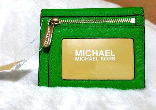 Michael Kors Jet Set Travel Card Case Id Key Holder Wallet Electric Blue green Clutch Image 6