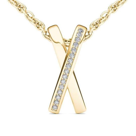 Preload https://img-static.tradesy.com/item/26374860/10kt-yellow-gold-diamond-x-shape-pendant-necklace-0-0-540-540.jpg