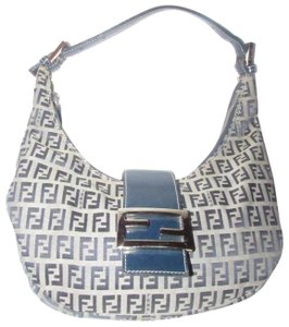 Fendi Excellent Condition Hobo Denim & Leather Style Enamel/Chrome Clasp Shoulder Bag