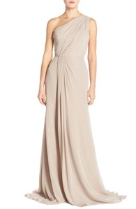 Monique Lhuillier Grey Chiffon Polyester One Shoulder Gown Formal Bridesmaid/Mob Dress Size 4 (S)