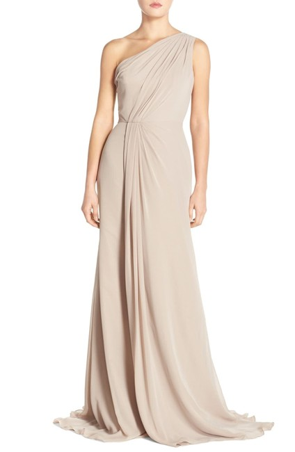Item - Grey Chiffon Polyester One Shoulder Gown Formal Bridesmaid/Mob Dress Size 4 (S)