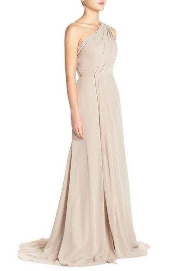Monique Lhuillier Grey Chiffon Polyester One Shoulder Gown Formal Bridesmaid/Mob Dress Size 4 (S) Image 4