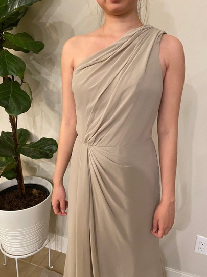 Monique Lhuillier Grey Chiffon Polyester One Shoulder Gown Formal Bridesmaid/Mob Dress Size 4 (S) Image 6