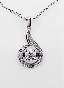 18k White Gold 18 with Pendant - 1.27 Ct Diamond Necklace