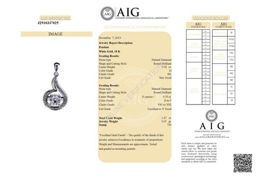 18k White Gold 18 with Pendant - 1.27 Ct Diamond Necklace Image 1
