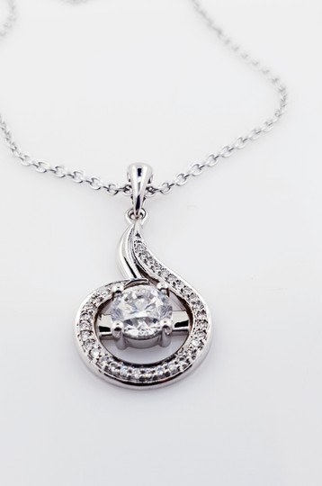 18k White Gold 18 with Pendant - 1.27 Ct Diamond Necklace Image 4