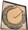 None Multi Layer Faceted Silver Metallic Crystal Necklace Image 0