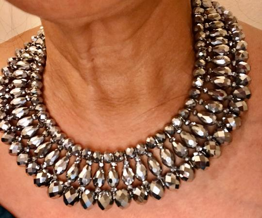 None Multi Layer Faceted Silver Metallic Crystal Necklace Image 1