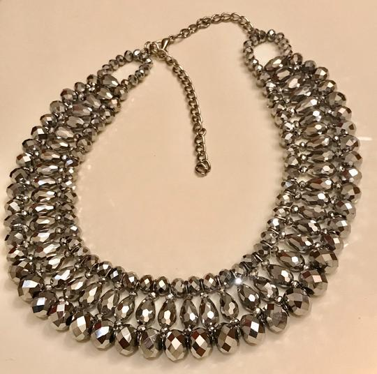 None Multi Layer Faceted Silver Metallic Crystal Necklace Image 2